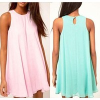 Pure Color Chiffon Irregular sleeveless O-neck Short Dress