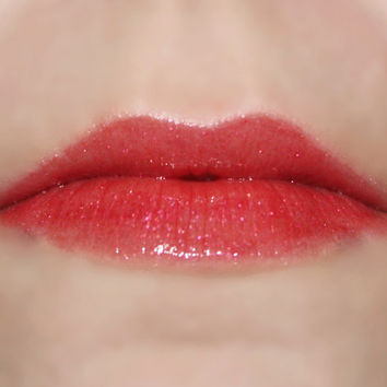 DEVILISH Lip Gloss: 10 mL Tube, Cranberry Red Glitter Lip Glaze, Iridescent Lip Color, Vanilla Flavor, Natural Cosmetics