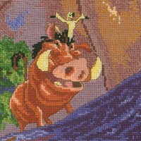 MCG Textiles Disney Dreams Collection By Thomas Kinkade Pumbaa and Timon, Vignette 5x7  16 Count