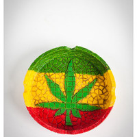 Mosaic Rasta Leaf Ashtray
