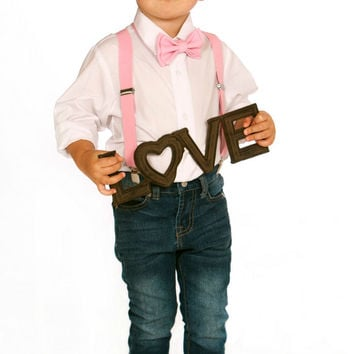 Boys Valentines Outfit    Baby Valentines Outfit    Pink Suspenders U0026 Blush  Pink Bow