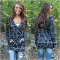 Blue Leopard Print Long Sleeve Shirt with Hood