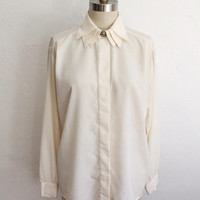 Vintage 80s Ivory Triple Collar Silky Blouse // Long Sleeve Secretary Top
