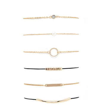 Faux Pearl Chain Bracelet Set | Forever 21 - 1000204668