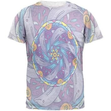 LMFCY8 Mandala Trippy Stained Glass Dolphins Mens T Shirt