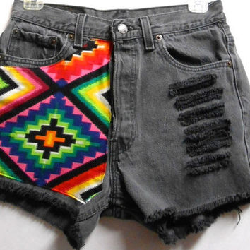 Vintage  Levis High Waist  Denim Shorts Aztec by Turnupthevolume