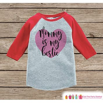 Kids Mother's Day Outfit - Mommy is my Bestie Onepiece or Tshirt - Happy Mothers Day Girl Red Raglan Tee - Newborn Baby Gift - Pink Heart