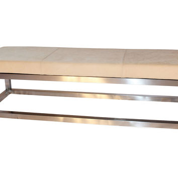 """Taylor Burke Home, Kelly 63"""" Leather Bench, Pearl, Bedroom Bench"""
