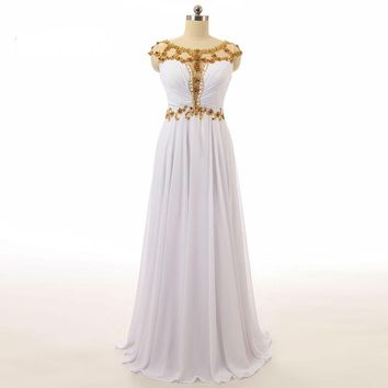 White Long Chiffon Prom Dresses Scoop Cap Sleeve Beads A Line Floor Length Backless