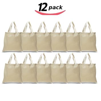 "12 Per Pack Natural Canvas Tote Bag - 15"" W X 16"" H , Cotton Tote Shopping Bag,  Reusable Grocery Bag, Craft Diy Heat Transfer Blank Canvas Bags for Events, Stores, Schools, Bridesmaids and More"