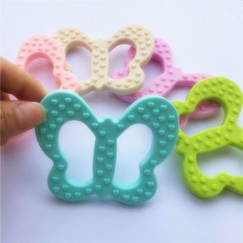 Chenkai 10PCS BPA Free Safe and Natual Silicone Butterfly Teether Chewable Pendant Nursing Baby Dummy Jewelry Toy Accessories