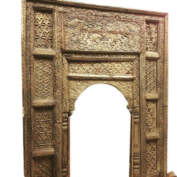 Antique Arch Headboard Welcome Gate Jaipur Arch Carved Peacock Teak Vintage Architectural 18c