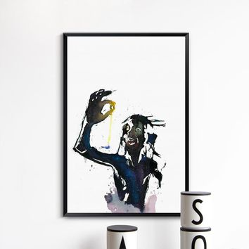 Abstract Watercolor Movie The Lord Of The Rings Gollum Portrait Canvas Print Picture Poster Wall Art Bedroom Home Decor Mural