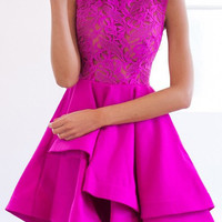 Pink Round Collar Lace Mini Dress