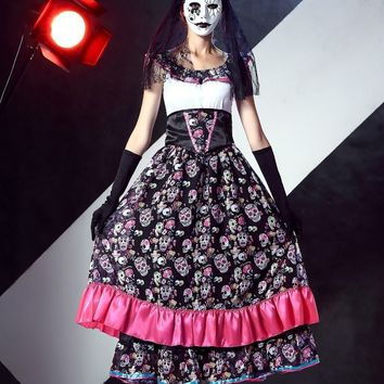 Adult Women Halloween Corpse Bride Costume Day of Dead Cosplay Long Skull Flapper Dress Scary Sleeveless Horror Outfit For Girls