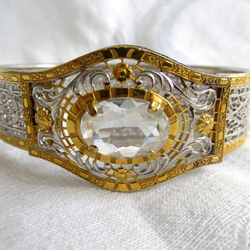 Antique Art Deco Bracelet, Rhodium Filigree Gold Wash Rock Crystal Center Stone, Antique Bangle Bracelet Great Gatsby Style Wedding Bracelet