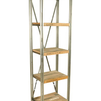 Boatwood Slim Industrial Shelves Bookcase