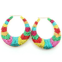 "3.5"" Oval Shaped Colorful Crystal Bamboo Earrings"