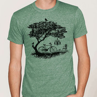 Mens bike t-shirt, bicycle, tree, birds t-shirt. Alternative Eco Green Crew Unisex
