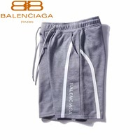 Balenciaga Summer new casual pants letter printed street style shorts Grey