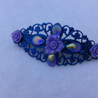 Blue and purple flower  filigree hair barrette bronze hair clip