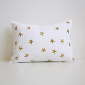 Gold Star Pillow - Holiday Decoration - Gold - White - Thanksgiving - Family - Christmas - Autumn