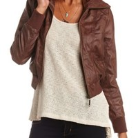Zip-Up Faux Leather Bomber Jacket by Charlotte Russe - Brown