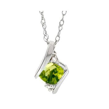 Sterling Silver Cushion Cut Peridot & Diamond Pendant