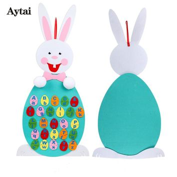 Aytai 1pc Easter Bunny A-Z 26 Alphabet Recognition Game Easter Decoration DIY Felt Craft for Kids Educational Toys for Children