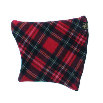 Gold Paw Dog Snood - Red Tartan/Black
