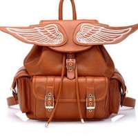 Brown Angel's Wing Backpack for Girls Ladies