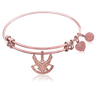 Expandable Bangle in Pink Tone Brass with U.S. Air Force Symbol