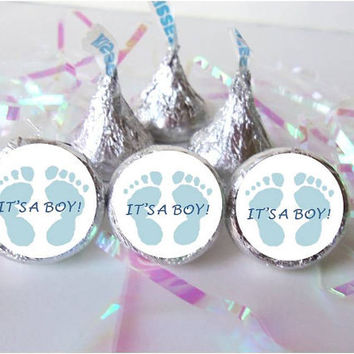 ITS A BOY Footprints Blue Baby Feet Shower Favors Candy Stickers Labels Wrappers Kiss