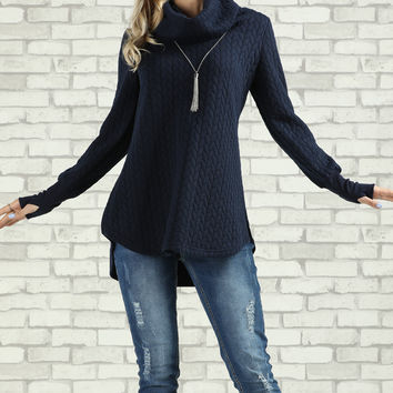 Suzanne Betro Navy Cowl Neck Tunic - Plus Too