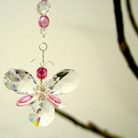 Swarovski Crystal Suncatcher Pink Wedding Garland Car Charm Baby Mobile Rear View Mirror Charm Hanging Butterfly Christmas Ornament Kid Gift