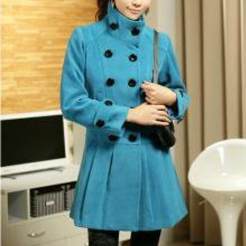 Exquisite Stand Collar Double-Breasted Blue Coats_F/W Coats_Wholesale - Wholesale Clothing, Wholesale Shoes, Bags, Jewelry, Wholesale Fashion Apparel & Accessories Online