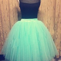 Mint Green Layered Pleated Tulle Ball Gown Maxi Skirt