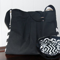 Girl or Boy Diaper Bag in Black Canvas with Black and White Chevron