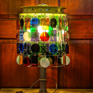 Millionaire Maker Stained Glass & Brass Lamp, Table Lamp, Accent Light (One of a Kind)