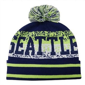 Seattle City Beanie Color PomPom Hat Winter Knit w POM Ribbed Cuff
