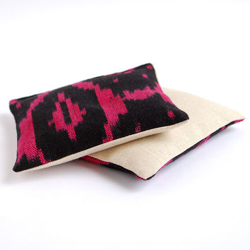 Black and Magenta Ikat Cotton & Linen Organic Lavender Sachets Set of 2