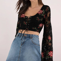 Forever Lace Embroidered Crop Top