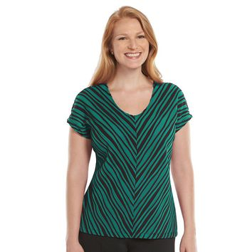 Dana Buchman Striped Pintuck Top - Women's Plus Size, Size: