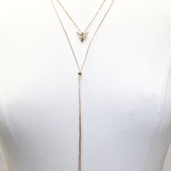 Long Layered Necklace with Arrow Head