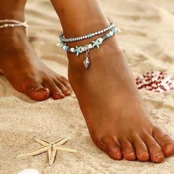 Beach Themed Beaded Anklet