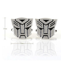 Silver Transformer Autobot Optimus Prime Mens Cufflinks with Gift Box