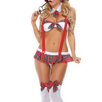 Sexy Women Student Uniform Lingerie Costume Cosplay Sleepwear White Red (Color: Multicolor) = 1932653060