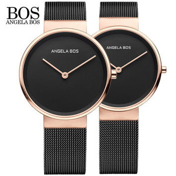 BOS Ultra Thin Simple Nordic Design Lovers Watch Sapphire Weave Stainless Steel Famous Brand Quartz Couple Men Watch Women Dress