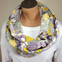 Floral Print Infinity Scarf Purple Gray Mustard Floral