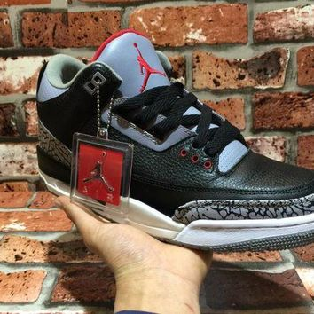 DCCK Air Jordan Retro AJ3 Black/Gray 1360604-010 Sneaker Shoe US 6-12
